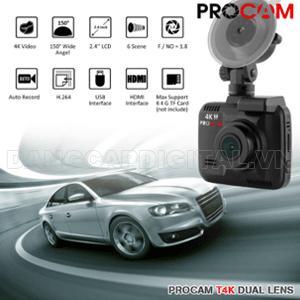 Camera hành trình Procam T4K Dual Lens, camera kép, quay 4K